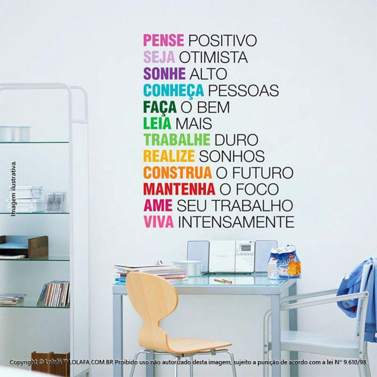 Parede Com Frases Pense Positivo Mod:5