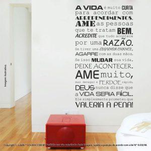 Adesivos De Parede Frases A Vida Vale A Pena Mod:17