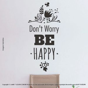 Parede Com Frases Dont Worry Be Happy Mod:33