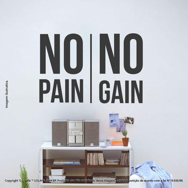 Adesivo Frases No Pain No Gain Mod:42