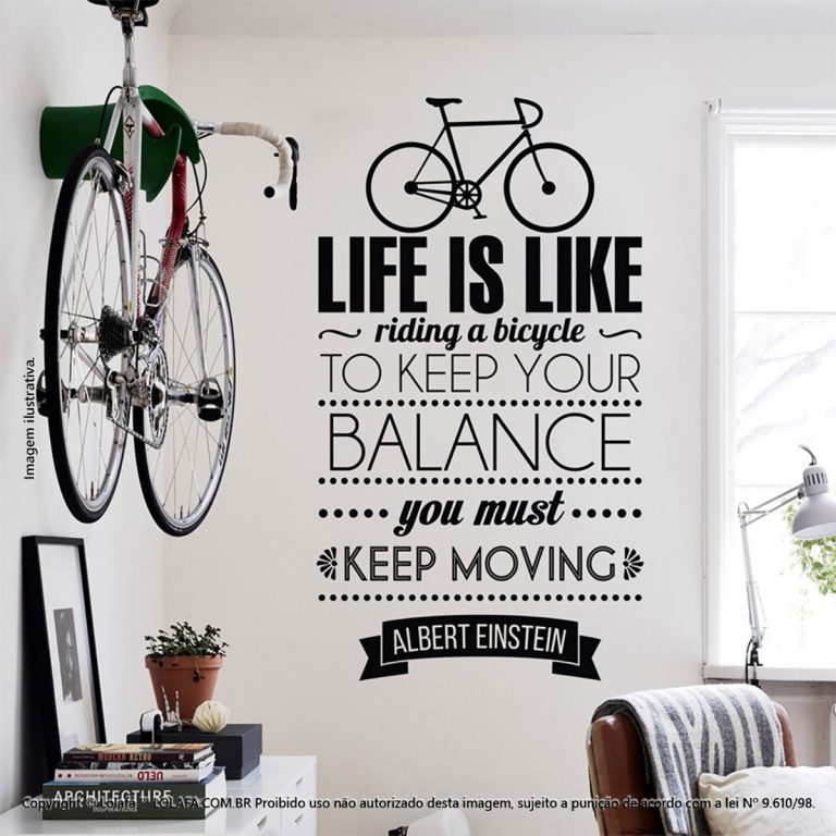 Parede Com Frases Life And Bicycle Mod:103