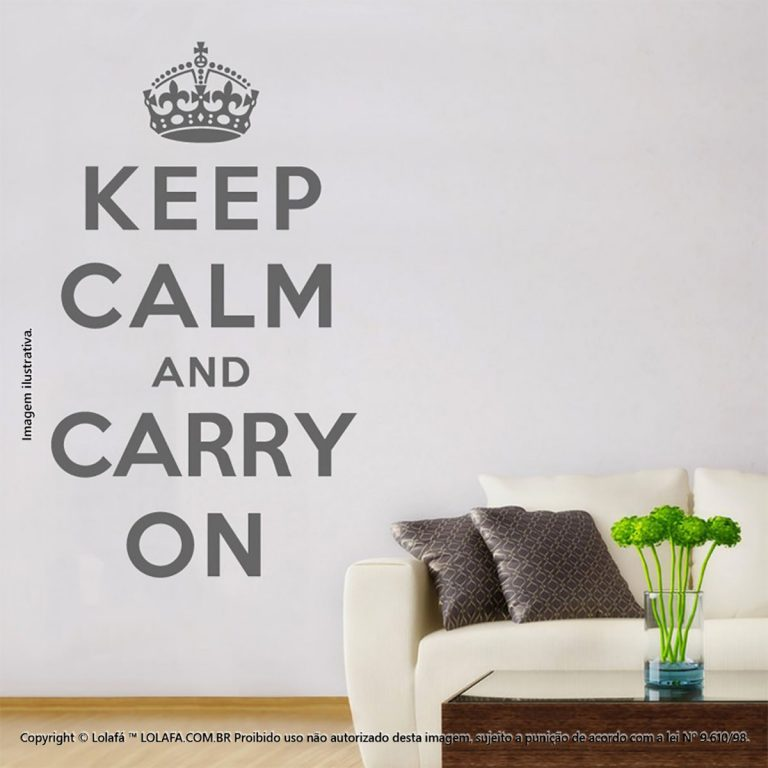 Parede Com Frases Keep Calm And Carry Mod:131