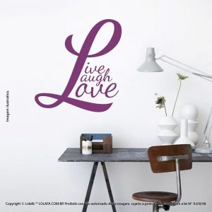 Frases Adesivo Parede Live, Laugh, Love Mod:174