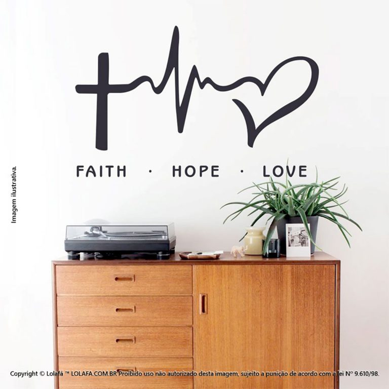 Frases Para Parede Faith, Hope, Love Mod:197