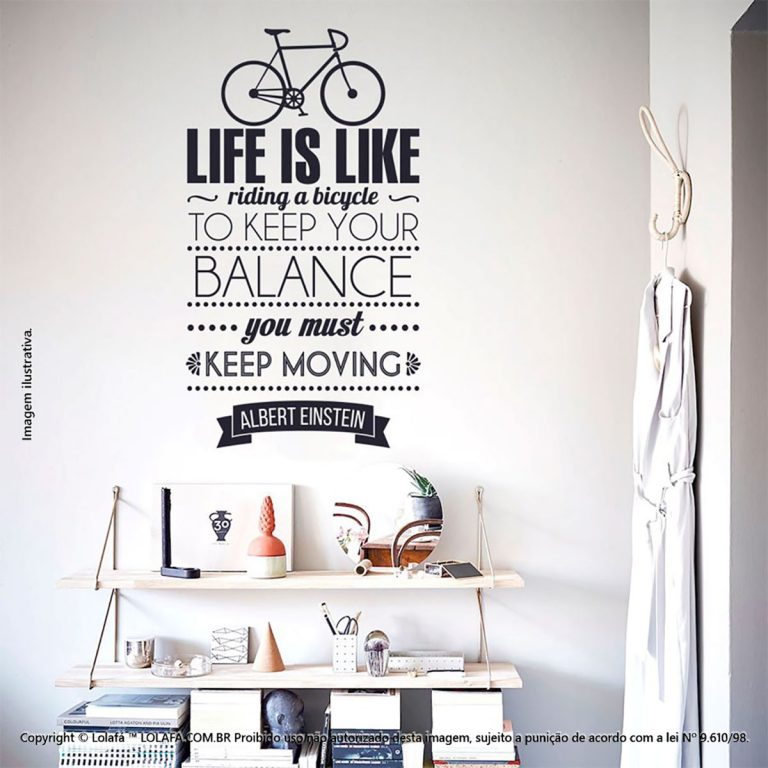 Adesivo Frases Parede Life And Bicycle Mod:206