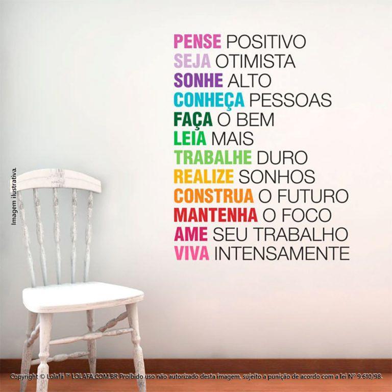 Adesivo Frases Para Parede Pense Positivo Mod:217