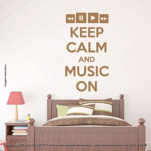 Adesivo Frases Parede Keep Calm And Music Mod:234