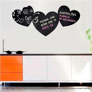 Adesivo Lousa Preta Sala Corações Mod:22