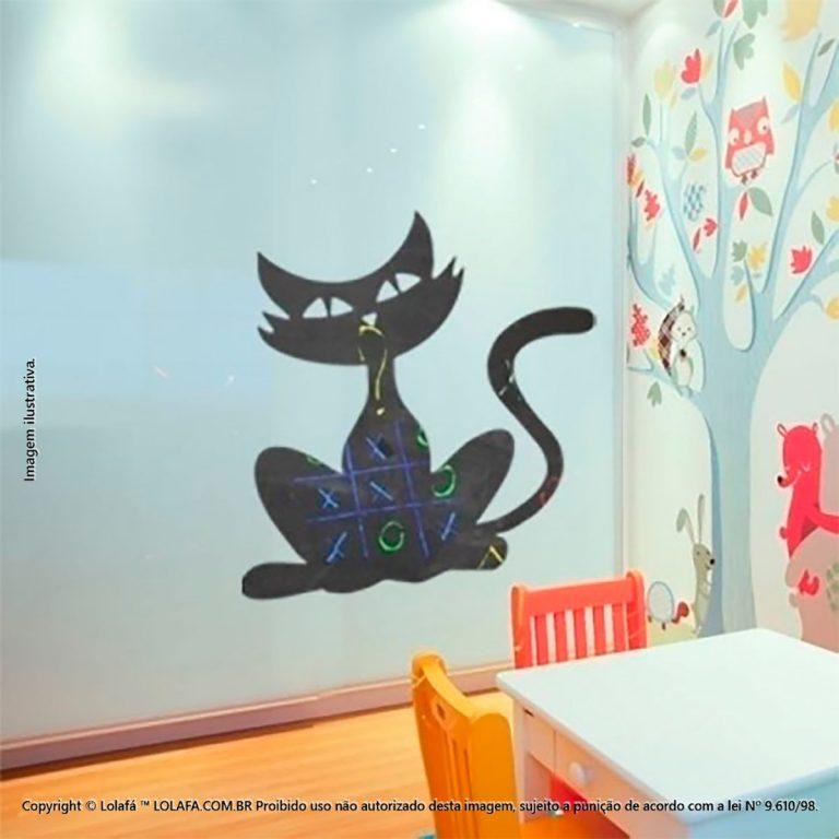 Adesivo Parede Lousa Infantil Gato Mod:46