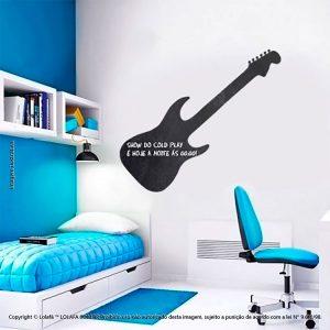 Adesivo Quadro Preto Quarto Guitarra Mod:47