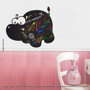 Adesivo De Lousa Para Parede Infantil Hipopótamo Mod:48