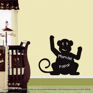Quadro Negro Adesivo Infantil Macaco Mod:72
