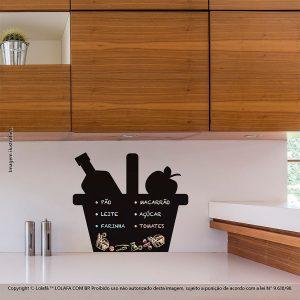 Adesivo De Lousa Para Parede Cozinha Cesto de Compras Mod:112