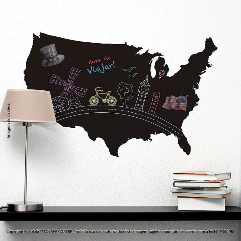 Adesivo Quadro Negro Quarto Mapa Mod:115