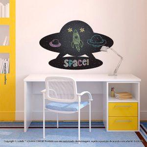 Adesivo De Lousa Preto Infantil Nave Espacial Mod:135