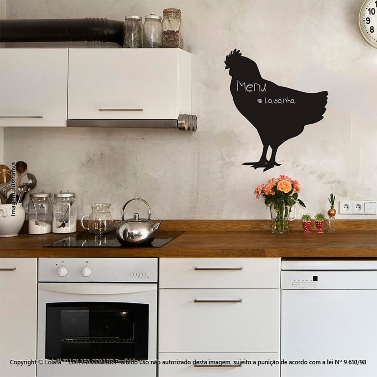 Adesivo De Lousa Para Parede Cozinha Galo Mod:144