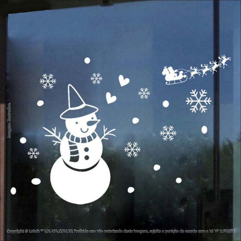 Adesivo De Parede Natal Vitrine Boneco De Neve Mod:53