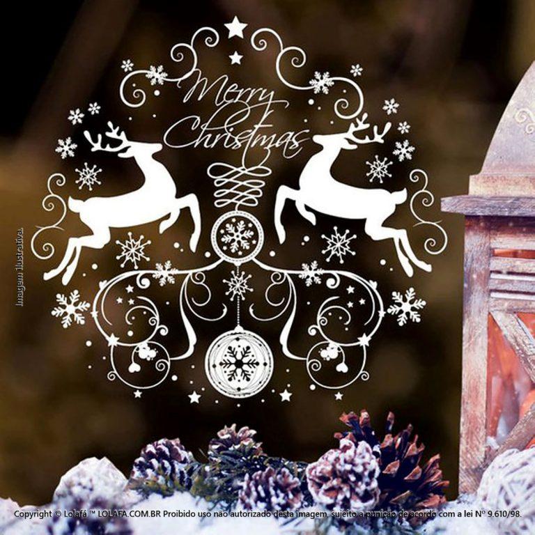 Adesivo Natal Vitrine Guirlanda E Renas Mod:116