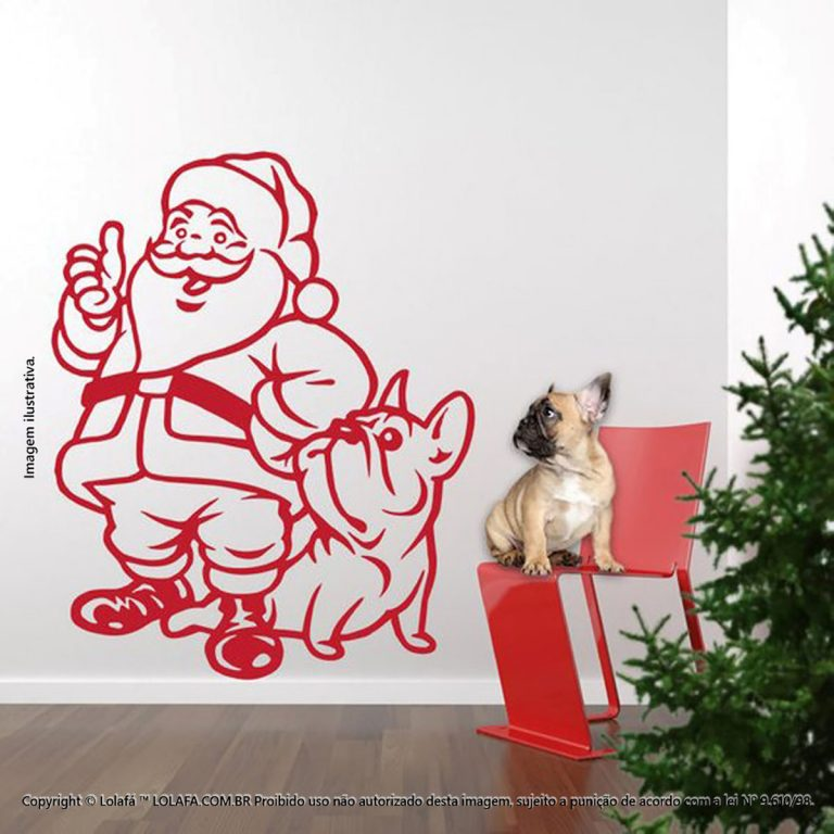 Adesivo Natal Noel Com Cachorro Mod:176