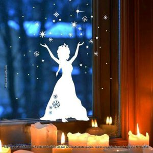 Adesivos De Natal Vitrine Snow Princesa Mod:307