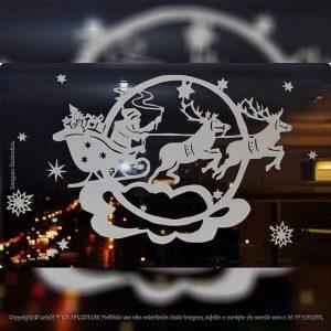 Adesivos Para Natal Vitrine Trenó Com Neve Mod:309