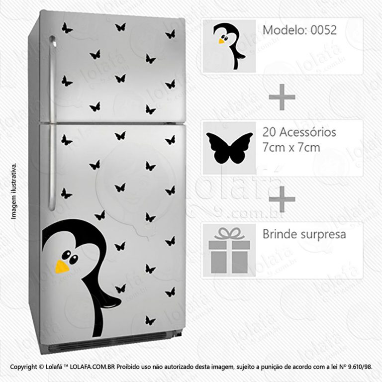 Adesivo Para Geladeiras Pinguim Mod:52
