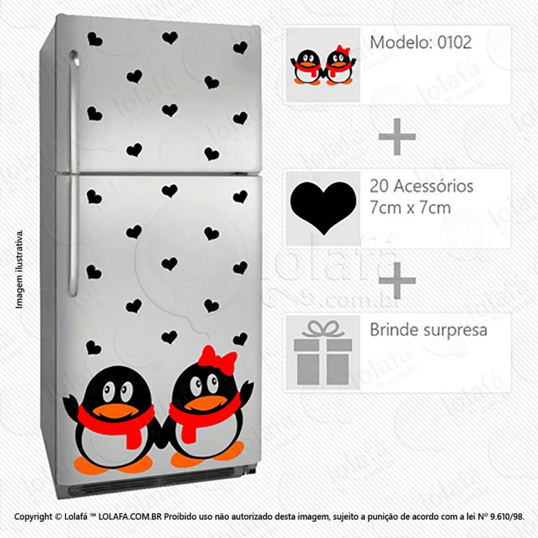 Adesivo Para Geladeiras Pinguins Mod:102