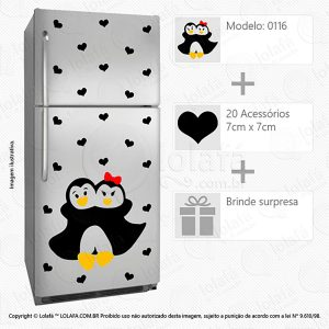 Adesivos De Geladeira Pinguins Mod:116