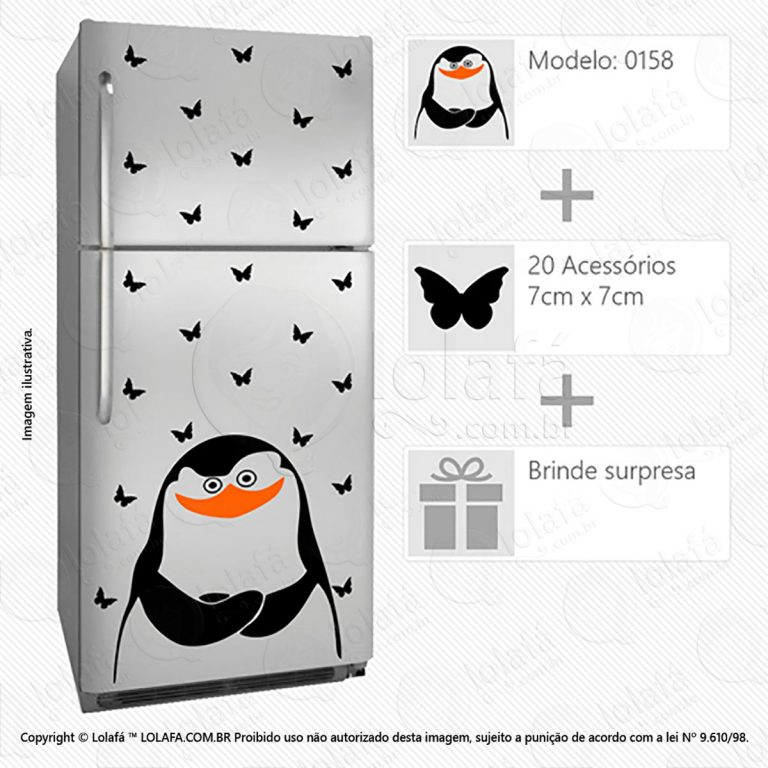 Adesivo Geladeira Pinguim Mod:158