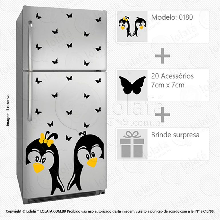 Adesivos Geladeiras Pinguins Mod:180