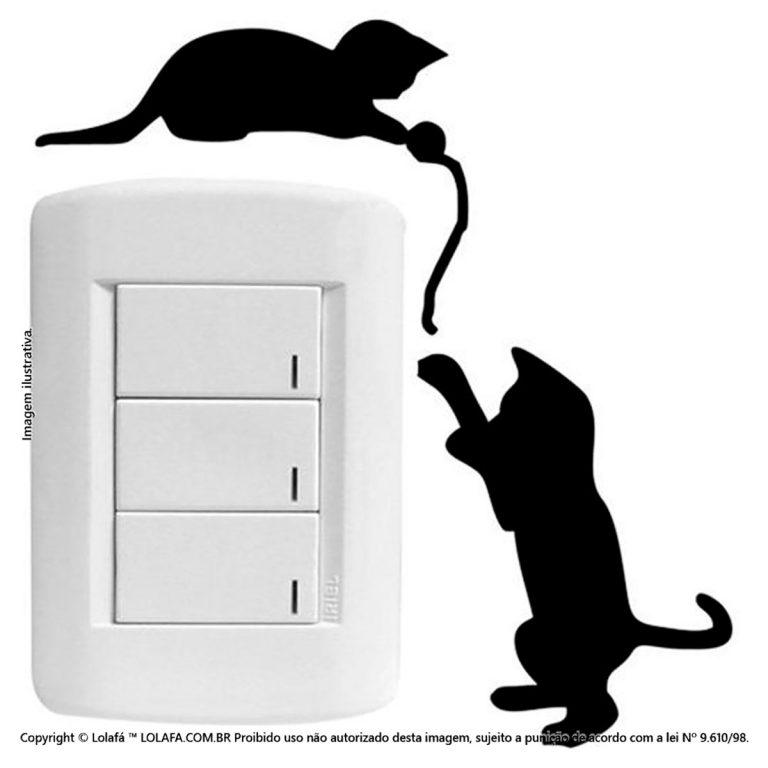 Adesivo De Interruptor Gatinhos Mod:6