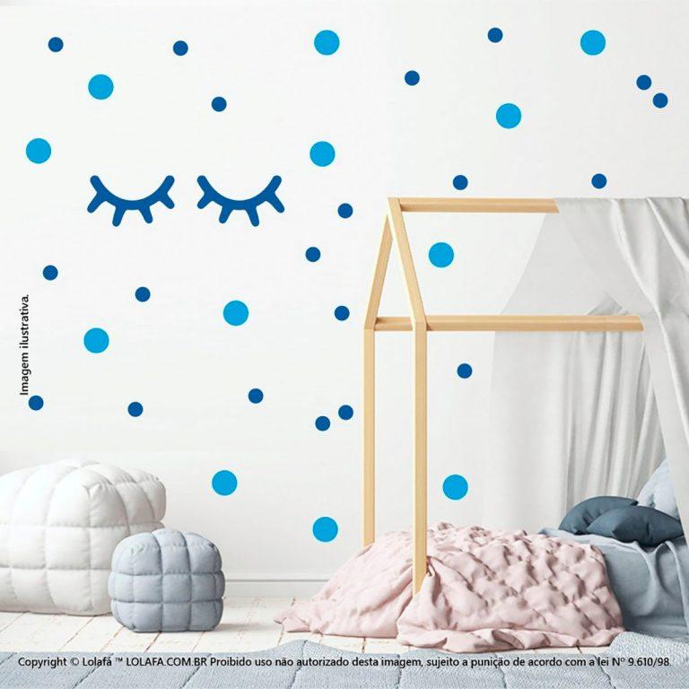 Kit Cartela Adesivo Decorativo Infantil Cílios e Bolinhas Mod:39
