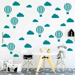 Kit Cartela Adesivos Decorativos Infantis Nuvens e Balões Mod:47