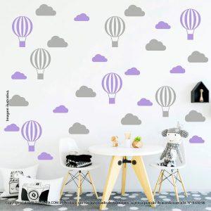 Kit Cartela Adesivo De Parede Para Quarto De Criança Nuvens e Balões Mod:48