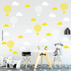 Kit Cartela Adesivo Para Parede Quarto Infantil Nuvens e Balões Mod:49