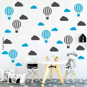 Kit Cartela Adesivo Para Quarto Bebe Nuvens e Balões Mod:50