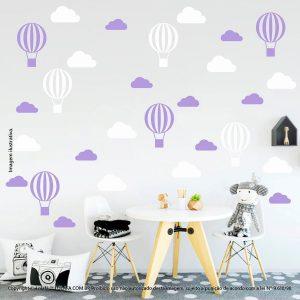 Kit Cartela Adesivos Para Decorar Quarto De Bebe Nuvens e Balões Mod:51