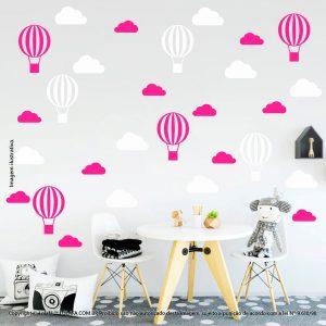 Kit Cartela Adesivos Decorativos Para Quarto De Bebe Nuvens e Balões Mod:52