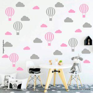 Kit Cartela Adesivo Decorativo De Parede Infantil Nuvens e Balões Mod:53