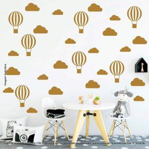 Kit Cartela Adesivo Decorativo Quarto Bebe Nuvens e Balões Mod:54