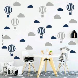 Kit Cartela Adesivo De Parede Infantil Nuvens e Balões Mod:55