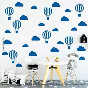 Kit Cartela Adesivos De Parede Infantil Nuvens e Balões Mod:56