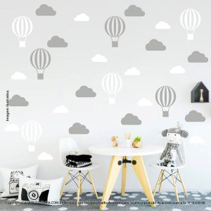 Kit Cartela Adesivos De Parede Infantis Nuvens e Balões Mod:57