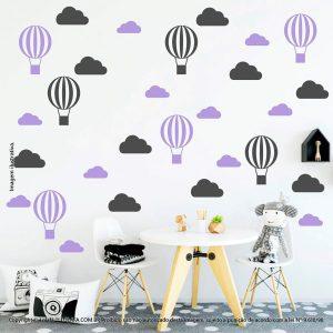 Kit Cartela Adesivos De Paredes Infantil Nuvens e Balões Mod:58