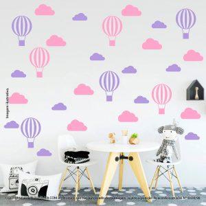 Kit Cartela Adesivo Quarto Bebe Nuvens e Balões Mod:66
