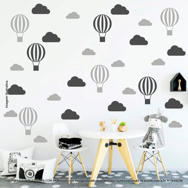 Kit Cartela Adesivos Para Quartos Infantis Nuvens e Balões Mod:69