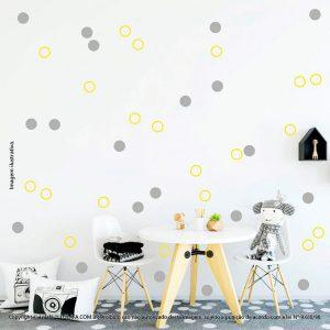 Kit Cartela Adesivo Infantil Para Parede Bolinhas Mod:77