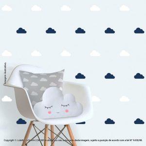 Kit Cartela Adesivo De Quarto De Bebe Nuvens Mod:84