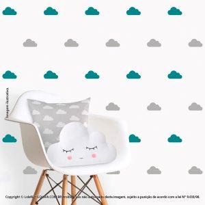Kit Cartela Adesivos De Quarto De Bebe Nuvens Mod:86