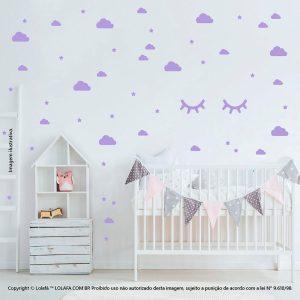 Kit Cartela Adesivo De Parede Quarto Bebe Nuvens Cílios e Estrelas Mod:96